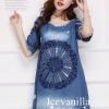 Icevanilla Anna Stitching 3D Floral Ops Denim