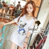 Seoul Secret Navy Doggy Print Tang-Top Dress