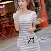 Lady Ribbon Lady Cherline Smart Casual Striped Lace Dress