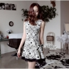Lady Ribbon Swirl Print Dress เดรสแขนกุดพิมพ์ลายแบบมินิมัล