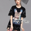 Lady Ribbon Kitty Printed Insert Lace Jersey Dress