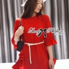 Lady Ribbon Red Pleated Frill with Belt