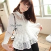 Lady Ribbon เสื้อผ้าแก้วทรงเชิ้ต ปักดอกไม้ สีขาว / สีดำ