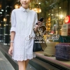 White Lace Mini Dress Shirt by Seoul Secret
