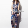 Lady Ribbon Chinoise Floral Printed Sleeveless Shirt Jumpsuit