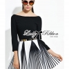 Lady Ribbon Minimal Chic Graphic Striped Dress