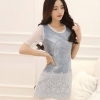 IceVanilla Rachel Denim Embroidered Lace Dress