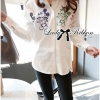 Lady Ribbon Mickey Mouse Embroidered Basic White Shirt Dress