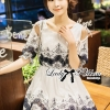 Lady Ribbon Sweet Vintage Embroidered Cotton Dress