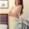 Lady Ribbon V-back Lace Dress เดรสแขนกุดผ้าลูกไม้สีขาว ด้านหลังคอวี