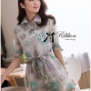 Lady Ribbon Floral Printed Cotton Silk Shirt Dress in Blue