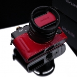 Gariz Leather Half-case for Sony RX1: Red / with Leather Cap Cover