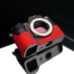 Gariz Leather Half-case for Sony A7 II : Alcantara Red