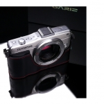 Gariz Leather Half-case for Olympus E-PM2: Black/Red