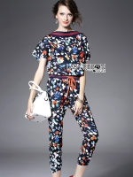 Lady Ribbon Flower Printed Jumpsuit
