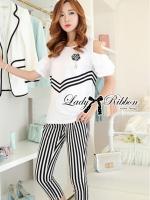 Lady Ribbon Coco Chanel Striped Set