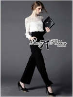 Lady Ribbon Lace Blouse and Flared Pants Jumpsuit