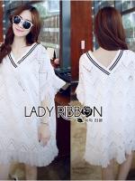 Lady Ribbon เดรสผ้าลูกไม้ประดับพู่