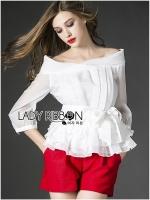 Lady Ribbon Chiffon Blouse and Red Hot Pants Set