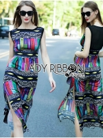 Lady Ribbon Colorful Graphic Printed Maxi Dress