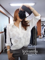 Icevanilla White 3D Lace Embroidery See-through Shirt
