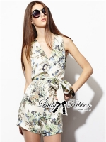 Lady Ribbon Spring Floral Graphic Painting Jumpsuit