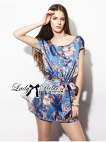 Lady Ribbon Blue Floral Printed Jumpsuit