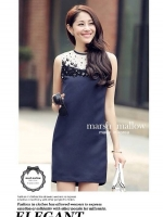 Marsh Mallow Jewels and Beaded Navy Blue Luxury Dress