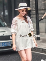 Seoul Secret V Collar Flora Lace Furnish Mini Dress