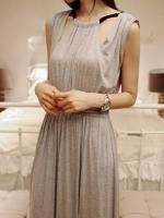 Maxi Dress แต่งสายเชือกถักที่คอ เปิดเว้าช่วงหน้าและหลัง