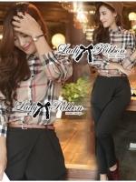 Lady Ribbon Burberry Style Plaid Shirt and Black Pants