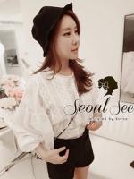 Seoul Secret Balloon Sleeve Cloud Blouse