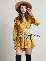Lady Ribbon Floral Printed Cut-Out Twist Jumpsuit in Yellow