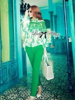 Lady Ribbon Insert Lace Printed Chiffon Blouse with Skinny Trousers Set