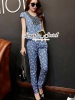 Seoul Secret Chic Blue Denim Printed Playsuit