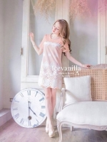 Icevanilla Pastel Sweet Stitching Embroidery Lace Dress