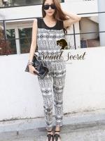 Seoul Secret Nifty Long Graphic Pattern Print Jumpsuit