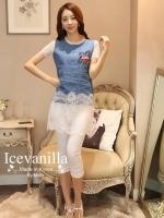 Icevanilla Star Stitching Lace Bottoming Denim Dress