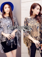 Lady Ribbon Poncho เสื้อประดับพู่ลายเสือ