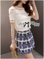 Lady Ribbon Lace Top and Printed Skirt Set