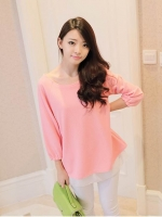 Sweet Pink Top เสื้อสีชมพู ตัดต่อผ้าชีฟองด้านใน