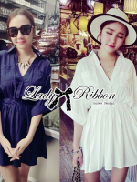 Lady Ribbon เชิ้ตเดรสทรงคาฟทาน เอวยางยืด