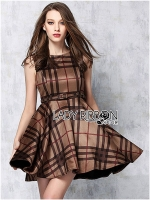 Lady Ribbon British Check Printed Beige Dress