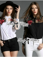 Lady Ribbon Dramatic Roses Embroidered with Tassels Shirt