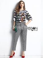 Lady Ribbon เซ็ตเสื้อและกางเกงขายาวลายทาง