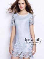 Icevanilla Luxury Crochet Pearl&Beaded Stitch Dress