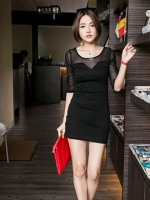 Sexy Black Dress เดรสสีดำ ตัดต่อผ้าตาข่ายที่แขน