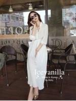 Icevanilla White Luxury Korea Chiffon Dress