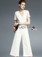 Lady Ribbon จั๊มสูทขายาวผ้าลูกไม้