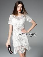 Lady Ribbon เดรสผ้าลูกไม้ปักหมุดเงิน